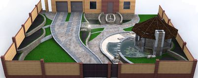Fully illustrated private yard landscaping, piloting. 3d rendering. royalty free illustration