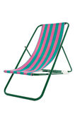 Fully   illustration of a deckchair. Striped beach bed isolated over white background Royalty Free Stock Photo