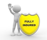 Fully insured. 3d people - man , person with Yellow shield and text Fully Insured Stock Image