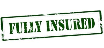 Fully insured. Stamp with text fully insured inside,  illustration Royalty Free Stock Image