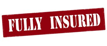 Fully insured. Stamp with text fully insured inside,  illustration Royalty Free Stock Images