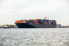 Fully laden container ship in port Royalty Free Stock Photo