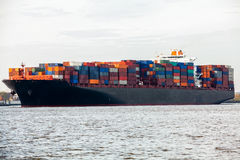 Fully laden container ship in port Royalty Free Stock Image