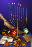 Fully Lite Hanukkah Menorah Royalty Free Stock Image