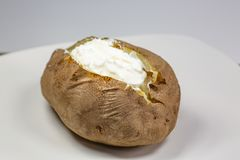Fully loaded baked potato on a white plate on the kitchen table stock image