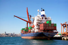 Fully loaded cargo ship Stock Photography
