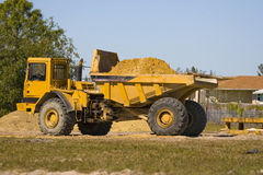 Fully loaded dump truck. Waits on the operator Stock Image