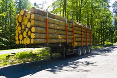 Fully loaded truck trailer with wooden pallets without truck in a parking lot stock photos