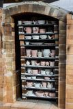 Fully packed fire brick soda kiln oblique view, handmade hobby. Vertical aspect royalty free stock images