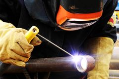 Welder at construction site. Fully protected Welder at work on construction site Stock Photography