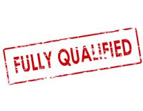 Fully qualified. Rubber stamp with text fully qualified inside,  illustration Stock Photos