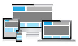 Fully responsive web design in electronic devices. Fully responsive web design concept Royalty Free Stock Images