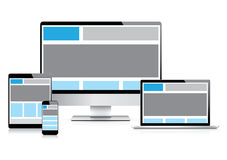 Fully responsive web design with electronic device. Responsive web design vector illustration with modern laptop, tablet, smartphone and computer devices