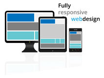 Fully responsive web design in electronic devices Stock Photos