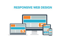 Fully responsive web design flat computer icons ve Royalty Free Stock Images