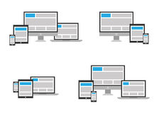 Fully responsive web design icon in different posi Stock Images