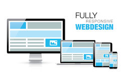 Fully responsive web design in modern realistic el Stock Photo