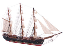 Fully rigged sail ship model. Old fully rigged sail ship model on white Royalty Free Stock Images