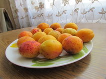 Fully ripened Apricots. On the plate Stock Photo