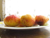Fully ripened Apricots. On the plate Stock Image