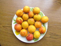 Fully ripened Apricots. On the plate Royalty Free Stock Photography