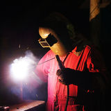 Fully Skilled Welder. Working on Fabrication Project Stock Photos