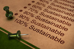 Fully Sustainable, Improving Sustainability. One hundred percent sustainable word, concept for improving sustainability in business Stock Image