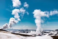 Fulminación gigante del área de la central eléctrica del krafla, Islandia Fotografía de archivo libre de regalías