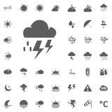 Fulmine della nuvola ed icona del raind Icone di vettore del tempo messe Fotografia Stock Libera da Diritti