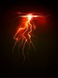 Fulmine realistico su fondo scuro Fireline rosso Fotografie Stock Libere da Diritti