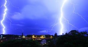 Fulmine sopra Ballito, Sudafrica Fotografie Stock Libere da Diritti
