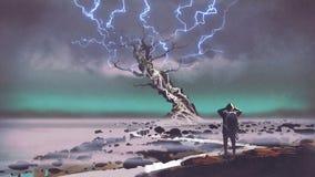 Fulmine sopra l'albero gigante illustrazione di stock