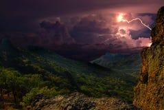 fulmine sulle colline, Crimea Immagine Stock Libera da Diritti