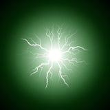 Fulmine verde dal centro Fotografia Stock