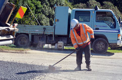 Fulton Hogan. CABLE BAY, NZ - APR 01 2014:Fulton Hogan labour.Fulton Hogan is a large infrastructure construction, roadworks company in NZ and Australasia.In royalty free stock photography