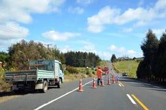 Fulton Hogan roadwork Stock Image
