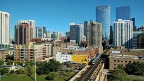 Fulton Market, Chicago Cityscape. An elevated view of the Fulton Market neighborhood at Lake Street in Chicago, USA stock video