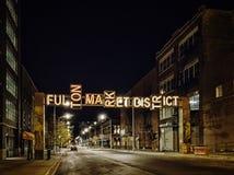Fulton Market District Gateway, Chicago, de V.S. De scène van de nacht stock afbeelding