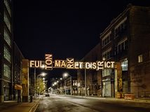 Fulton Market District Gateway, Chicago, Etats-Unis Scène de nuit image stock