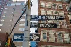 Fulton street sign, New York Royalty Free Stock Photos