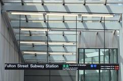 Fulton Street Subway Sign Royalty-vrije Stock Fotografie