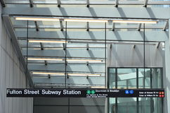Fulton Street Subway Sign. Fulton Street is a station complex on the New York City Subway in Lower Manhattan, New York City. This photo is a close up of the sign Royalty Free Stock Photography