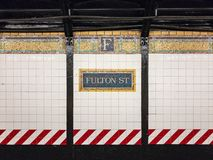 Fulton Street Subway Station - New York City fotos de stock