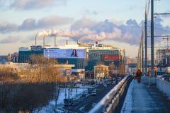 Fumée à Moscou au coucher du soleil photo libre de droits
