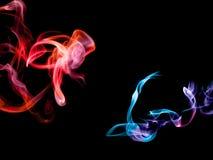 Fumée abstraite colorée sur le fond noir illustration stock