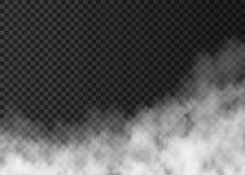Fumée blanche du feu d'isolement sur le fond transparent illustration libre de droits