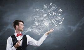 Fumée d'homme d'affaires et de tuyau Photographie stock libre de droits