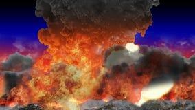 Fumée et les feux brûlants de volcan avec des explosions illustration libre de droits