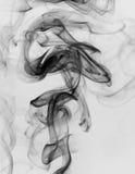 Fumée noire d'isolement sur le fond blanc Images libres de droits