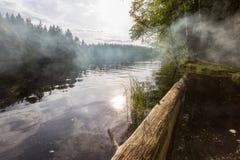 Fumée sur le lac Photo libre de droits